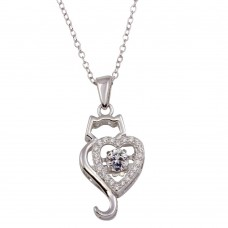 Wholesale Sterling Silver 925 Rhodium Plated Dancing CZ Heart Cat Necklace - STP01695