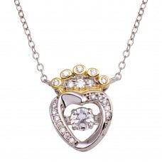 Wholesale Sterling Silver 925 2 Toned Crown Heart Dancing CZ Necklace - STP01696