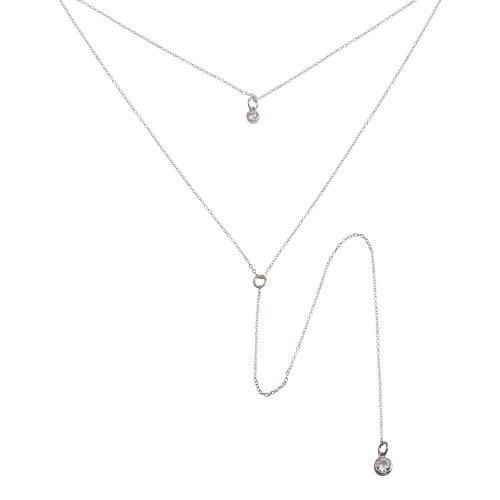 Wholesale Sterling Silver 925 Rhodium Plated Double Chain Drop Necklace with CZ - STP01698RH