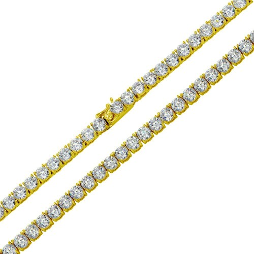 Wholesale Sterling Silver 925 Gold Plated Round CZ Link Chains 5mm - STP01708GP