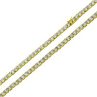 Wholesale Sterling Silver 925 Gold Plated Round CZ Link Chains 3mm - STP01709GP
