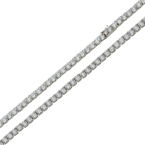 Wholesale Sterling Silver 925 Rhodium Plated Round CZ Link Chains 3mm - STP01709RH