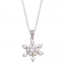 Wholesale Sterling Silver 925 Rhodium Plated Snow Flakes CZ Necklace - STP01729