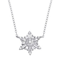 Wholesale Sterling Silver 925 Rhodium Plated Snow Flakes CZ Necklace - STP01730