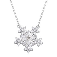 Wholesale Sterling Silver 925 Rhodium Plated Snow Flakes CZ Necklace - STP01731