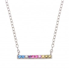 Wholesale Sterling Silver 925 Rhodium Plated Rainbow Multi Color CZ Bar Necklace - STP01732