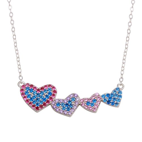 Wholesale Sterling Silver 925 Rhodium Plated Rainbow Multi Color CZ 4 Hearts Necklace - STP01733