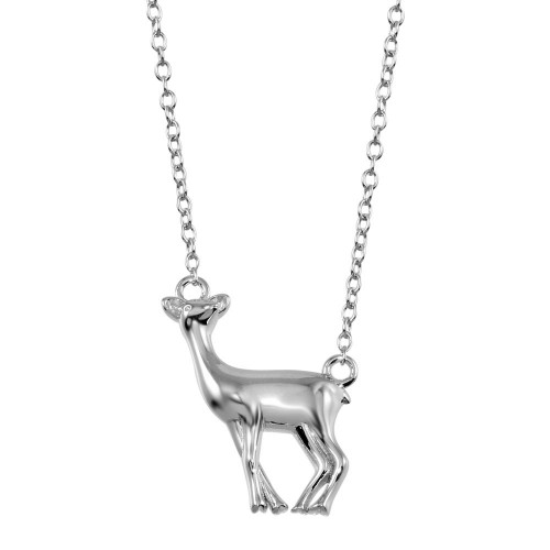 Wholesale Sterling Silver 925 Rhodium Plated Deer Necklace - STP01734