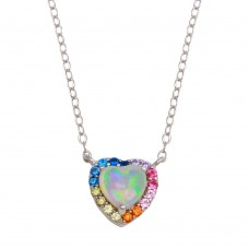 Wholesale Sterling Silver 925 Rhodium Plated Rainbow Multi Color CZ Opal Hearts Necklace - STP01736