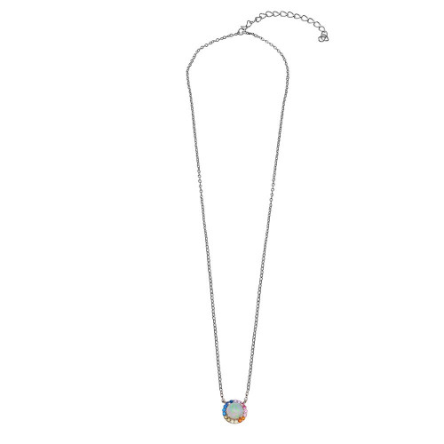 Wholesale Sterling Silver 925 Rhodium Plated Rainbow Multi Color CZ Opal Round Necklace - STP01737