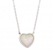 Wholesale Sterling Silver 925 Rhodium Plated Heart Synthetic Opal Necklace with CZ - STP01739