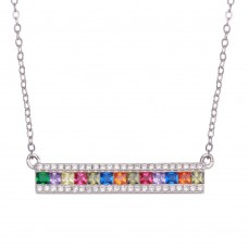 Wholesale Sterling Silver 925 Rhodium Plated Rainbow Multi Color CZ Bar Necklace - STP01740