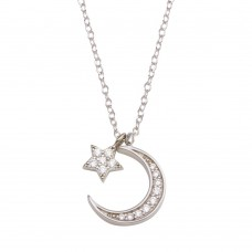 Wholesale Sterling Silver 925 Rhodium Plated Dangling Flower Crescent CZ Necklace - STP01741
