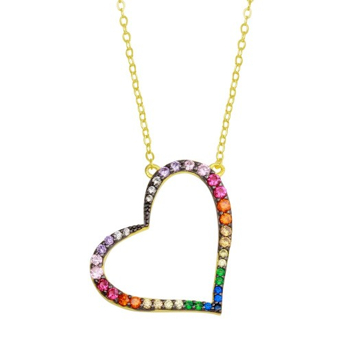 Wholesale Sterling Silver 925 Gold Plated Multi Color CZ Slanted Heart Pendant Necklace - STP01742