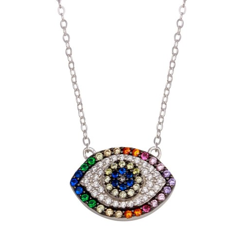 Wholesale Sterling Silver 925 Rhodium Plated Rainbow Multi Color CZ Eye Necklace - STP01743