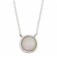 Wholesale Sterling Silver 925 Rhodium Plated Disc Synthetic Opal Necklace with CZ - STP01744