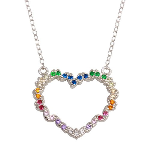 Wholesale Sterling Silver 925 Rhodium Plated Rainbow Multi Color CZ Hearts Necklace - STP01745