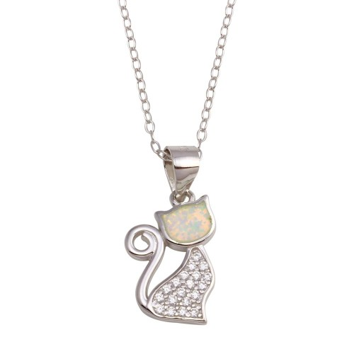 Wholesale Sterling Silver 925 Rhodium Plated CZ Opal Cat Necklace - STP01746