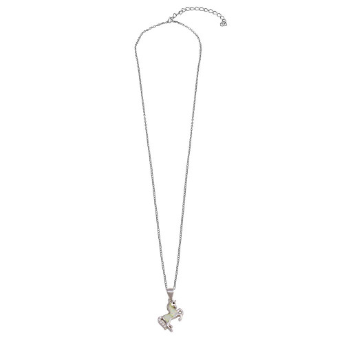 Wholesale Sterling Silver 925 Rhodium Plated Unicorn Synthetic Opal Necklace with CZ - STP01747