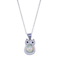 Wholesale Sterling Silver 925 Rhodium Plated Owl Synthetic Opal Necklace with CZ - STP01748