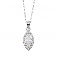 Wholesale Sterling Silver 925 Rhodium Plated Clear CZ Halo Marquise Shaped Necklace - STP01751