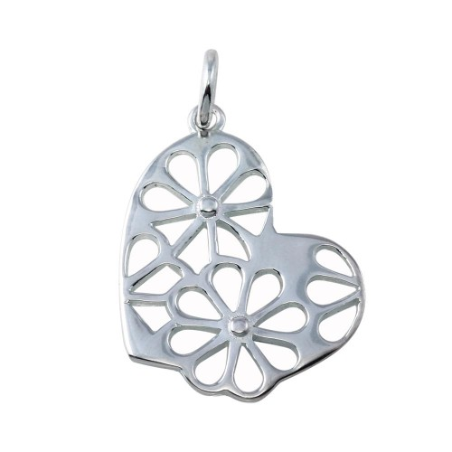 Wholesale Sterling Silver 925 Non Plated CZ Slanted Heart Flower Design Pendant Necklace - STP01752