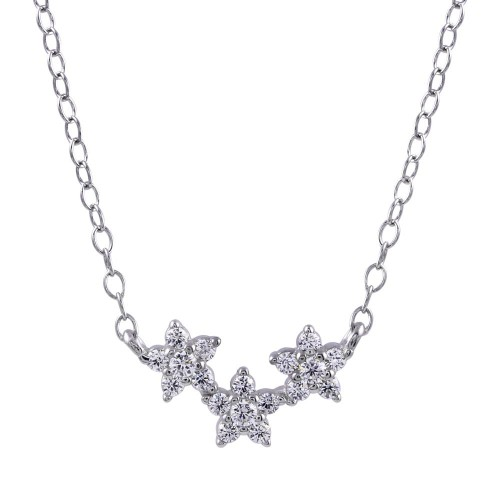 Wholesale Sterling Silver 925 Rhodium Plated CZ Triple Flower Necklace - STP01755
