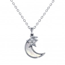 Wholesale Sterling Silver 925 Rhodium Plated CZ Synthetic Mother of Pearl Star and Crescent Moon Necklace - STP01756
