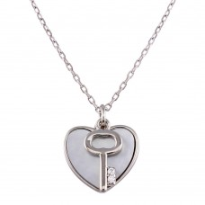 Wholesale Sterling Silver 925 Rhodium Plated Key and Mother of Pearl Hearts Necklace - STP01757