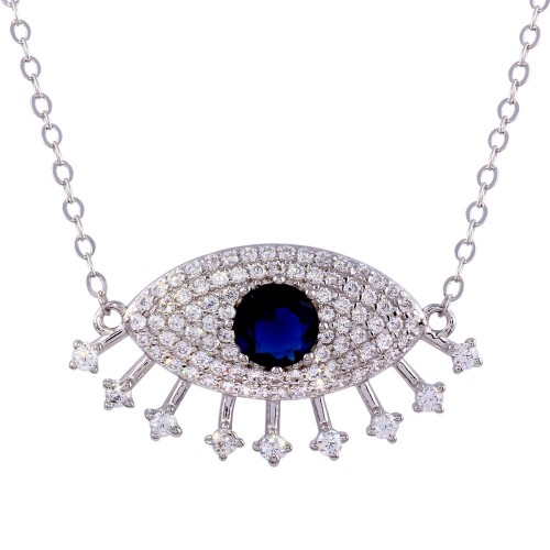 Wholesale Sterling Silver 925 Rhodium Plated Large Evil Eye Pendant Necklace with Clear and Blue CZ - STP01758