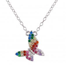 Wholesale Sterling Silver 925 Black Rhodium Plated Rainbow CZ Butterfly Necklace - STP01759