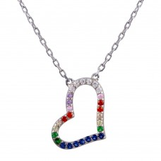 Wholesale Sterling Silver 925 Rhodium Plated Open Heart Multi Color CZ Necklace - STP01760