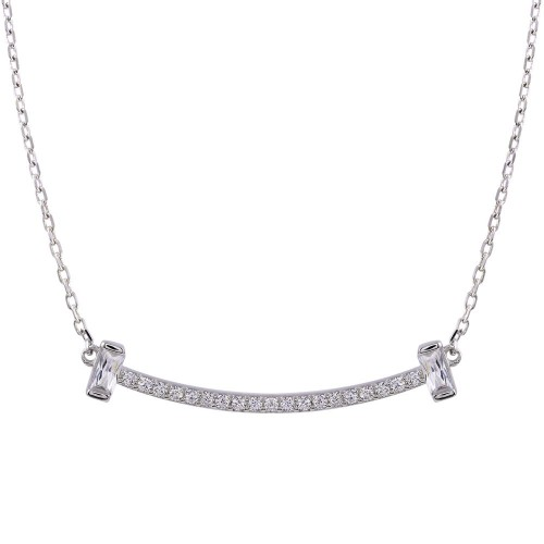 Wholesale Sterling Silver 925 Rhodium Plated CZ Bar Necklace - STP01761