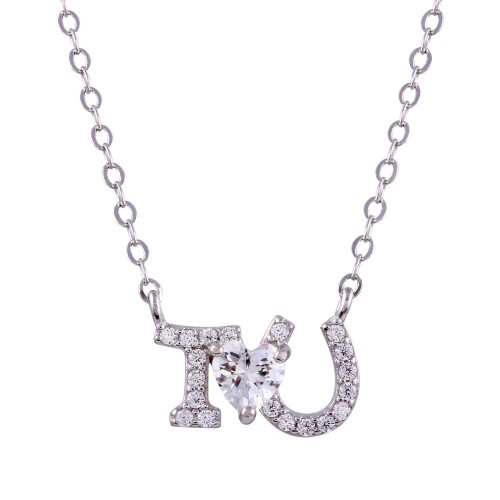 Wholesale Sterling Silver 925 Rhodium Plated I Heart U Necklace - STP01762