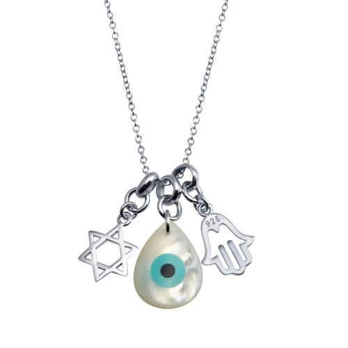 Wholesale Sterling Silver 925 Rhodium Plated Hamsa Hand and Evil Eye MOP Necklace - STP01763