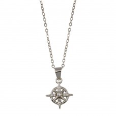 Wholesale Sterling Silver 925 Rhodium Plated Northern Star CZ Necklace - STP01767