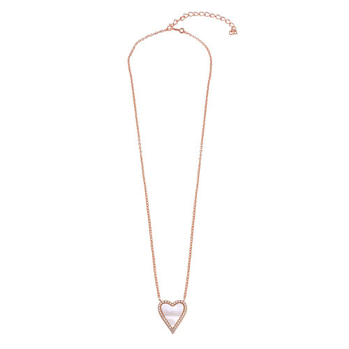Wholesale Sterling Silver 925 Rose Gold Plated Heart Mother of Pearl Necklace - STP01768RGP