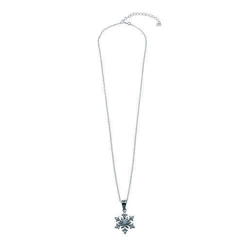 Wholesale Sterling Silver 925 Rhodium Plated Snow Flakes CZ Necklace - STP01770