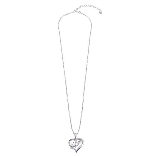 Wholesale Sterling Silver 925 Rhodium Plated Clear CZ Heart MOM Necklace - STP01771