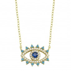 Wholesale Sterling Silver 925 Gold Plated Evil Eye Blue CZ Necklace - STP01772GP