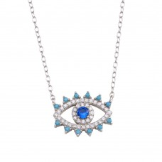 Wholesale Sterling Silver 925 Rhodium Plated Evil Eye Blue CZ Necklace - STP01772RH