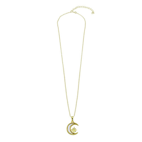 Wholesale Sterling Silver 925 Gold Plated CZ Synthetic Mother of Pearl Star and Crescent Moon Necklace - STP01773GP