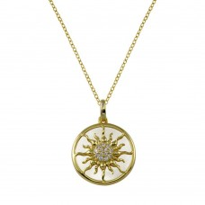 Wholesale Sterling Silver 925 Gold Plated MOP  CZ Sun Necklace - STP01776