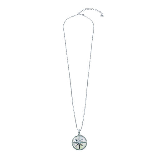 Wholesale Sterling Silver 925 Northern Star CZ Mother of Pearl Pendant - STP01777