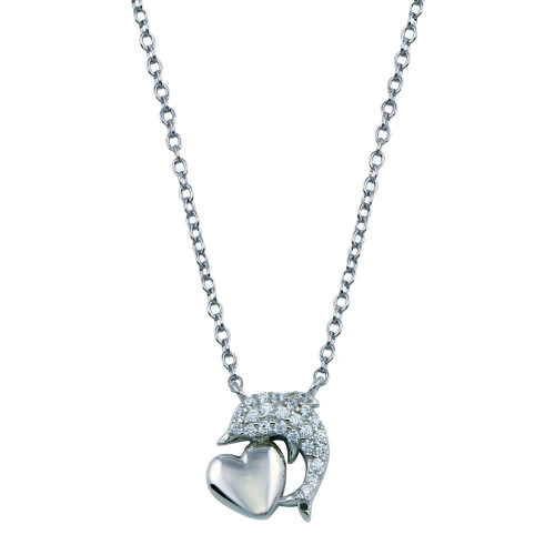 Wholesale Sterling Silver 925 Rhodium Plated CZ Dolphin Necklace With Heart - STP01778