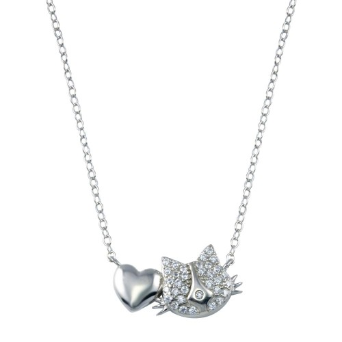 Wholesale Sterling Silver 925 Rhodium Plated Dog Heart Necklace - STP01779