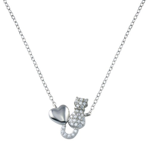 Wholesale Sterling Silver 925 Rhodium Plated Cat Heart Necklace - STP01780