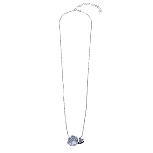 Wholesale Sterling Silver 925 Rhodium Plated Dog Paw Heart Necklace - STP01781