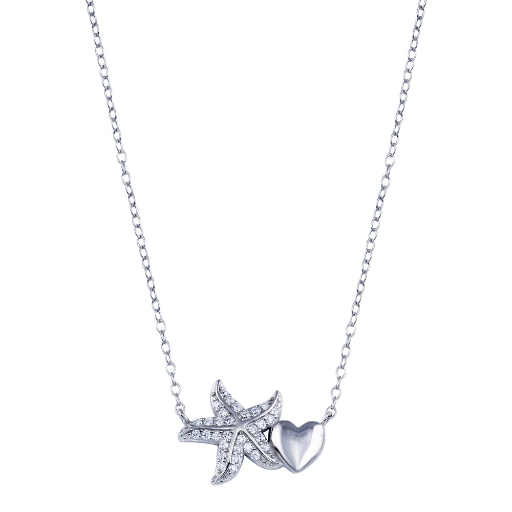Wholesale Sterling Silver 925 Rhodium Plated Starfish Heart CZ Necklace - STP01782