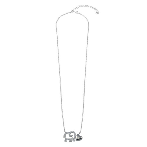 Wholesale Sterling Silver 925 Rhodium Plated Outline CZ Elephant With Heart Necklace - STP01783